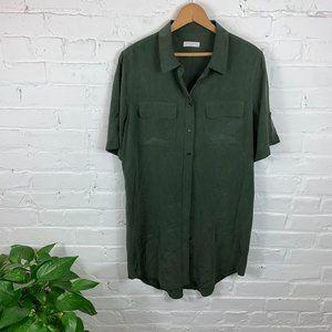 Equipment Short Sleeve Slim Signature Silk Dress